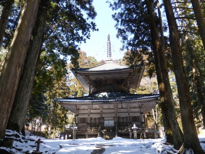Snow-covered temple in Koyasan